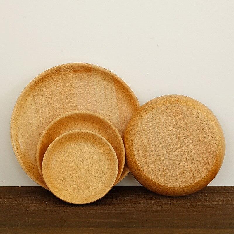 Japanese Style Round Shape Original Wood Plate Food Fruits Dish Tray Wooden Dinner Plates Pratos de Jantar Servis Tabaklar