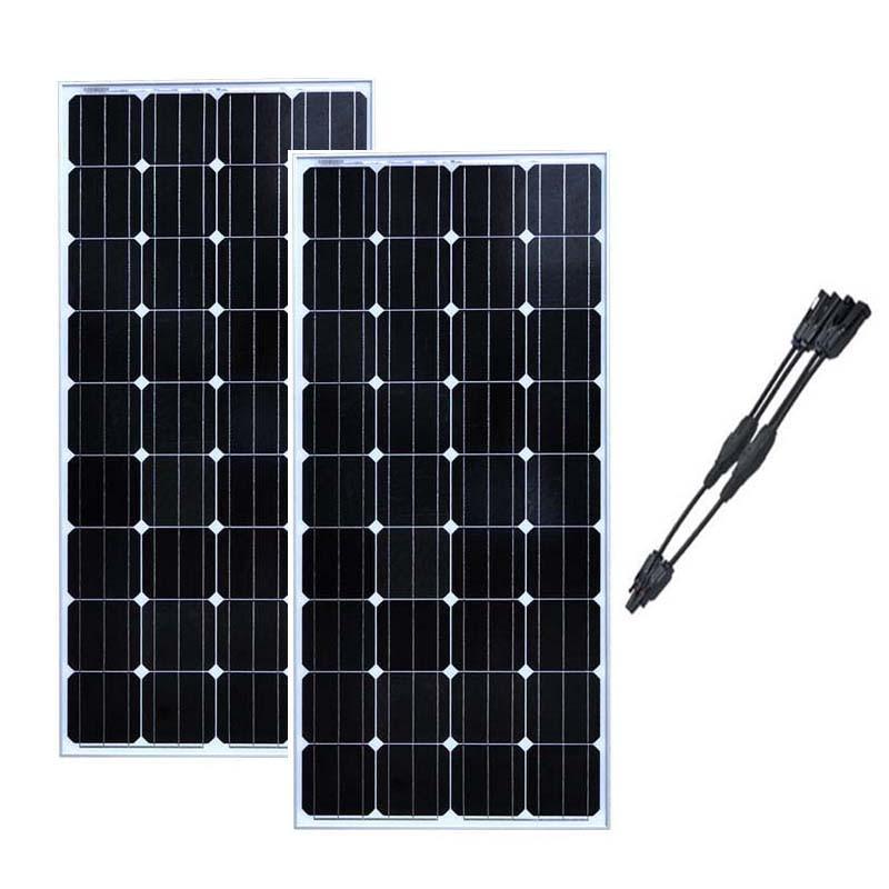 Módulo Do Painel Solar Kit 300 W 2 pçs/lote Zonnepaneel 12 Volt 150 Watt Carregador de Bateria Solar 2 In1 Conncetor Caravana motorhome