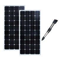 Solar Panel Module Kit 300W Zonnepaneel 12 Volt 150 Watt 2 Pcs/Lot Solar Battery Charger 2 In1 Conncetor Caravan Motorhome