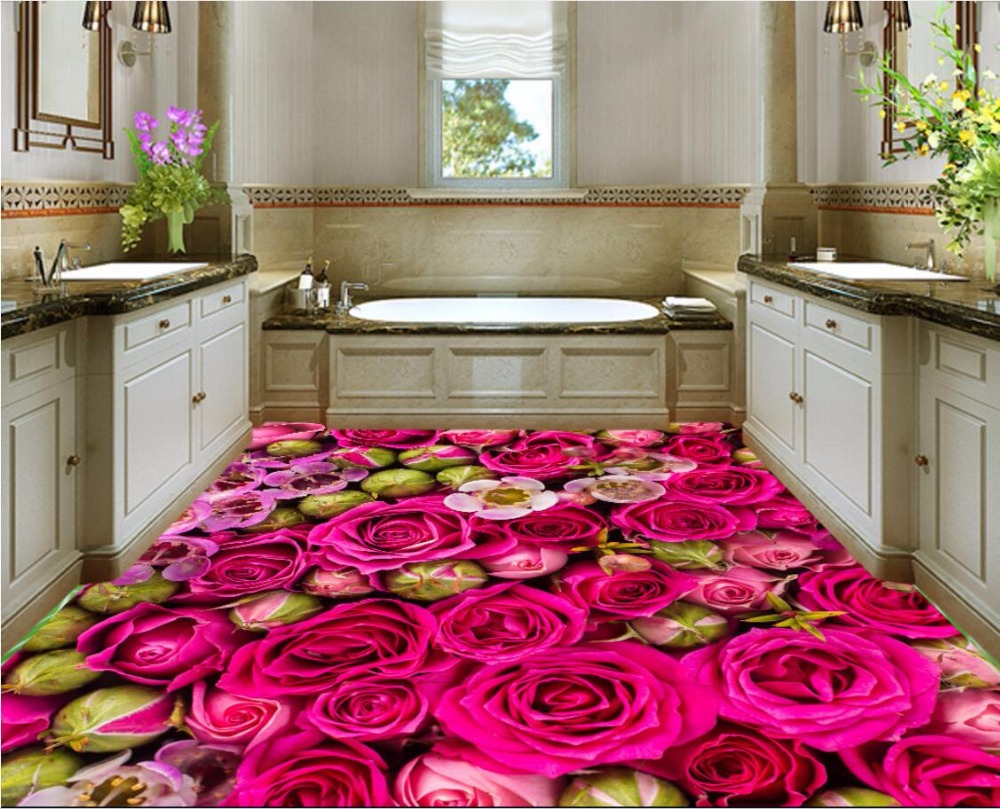 WDBH custom mural 3d flooring pvc self adhesive wallpaper sea rose flower home decor 3d wall murals wallpaper for living room free shipping flooring custom living room self adhesive photo wallpaper wonderland lotus pool 3d floor thickened painting flower