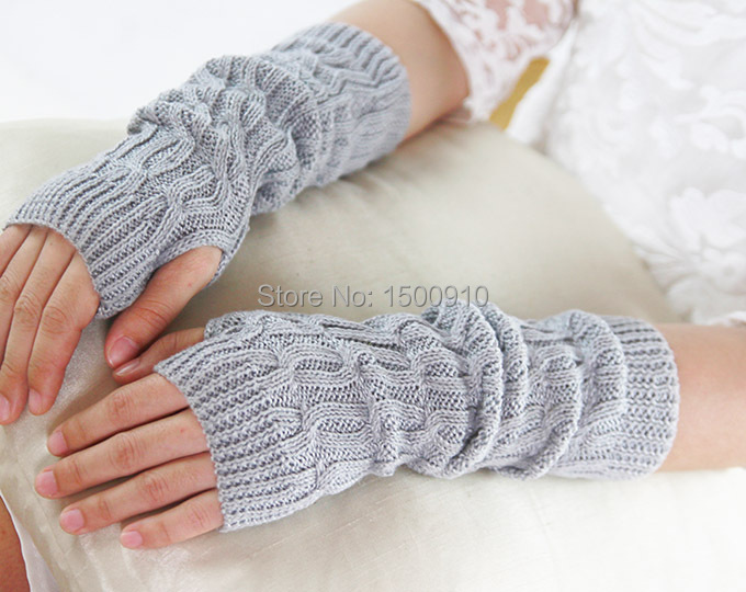 Hot Sale Gray Womens Fingerless Motorcycle Gloves Knit Pattern