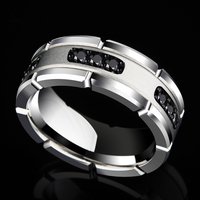 New Arrival 8MM Width Silver Tones White Tungsten Rings High Polished Inlay Black CZ Stones For