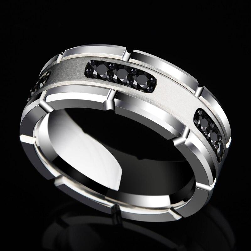 新到着 8 ミリメートル幅シルバートーンホワイトタングステンリングハイポリッシュ黒 CZ 石のための男性の結婚バンドサイズ 7 10  グループ上の ジュエリー & アクセサリー からの 指輪 の中 1