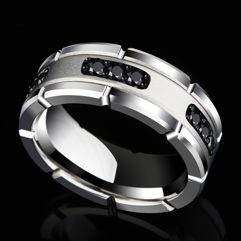 New Arrival 8MM Width Silver Tones White Tungsten Rings High Polished Inlay Black CZ Stones for Man's Wedding Band Size 7 10-in Rings from Jewelry & Accessories    1