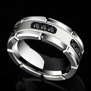 New Arrival 8MM Width Silver Tones White Tungsten Rings High Polished Inlay Black CZ Stones for Man's Wedding Band Size 7-10 - DISCOUNT ITEM  5% OFF All Category