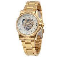 Winner Sport Design Bezel Golden Watch Womens Watches Top Brand Luxury Clock Women Automatic Lovely Watch