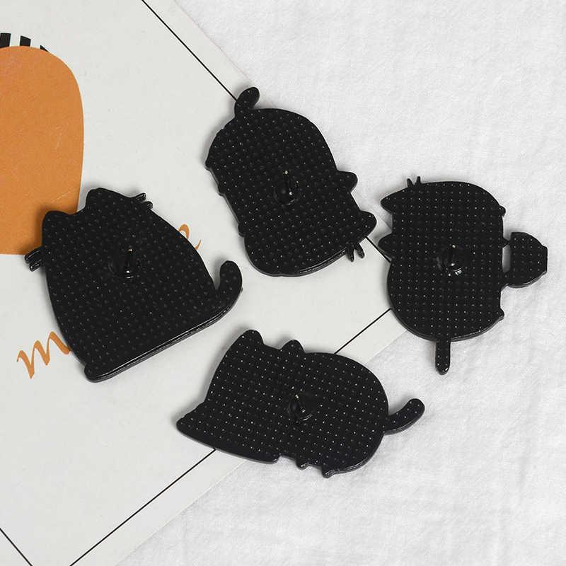 회색 뚱뚱한 고양이 에나멜 핀 배지 만족 스파게티 서 옷깃 핀 브로치 귀여운 만화 동물 쥬얼리 데님 셔츠 가방