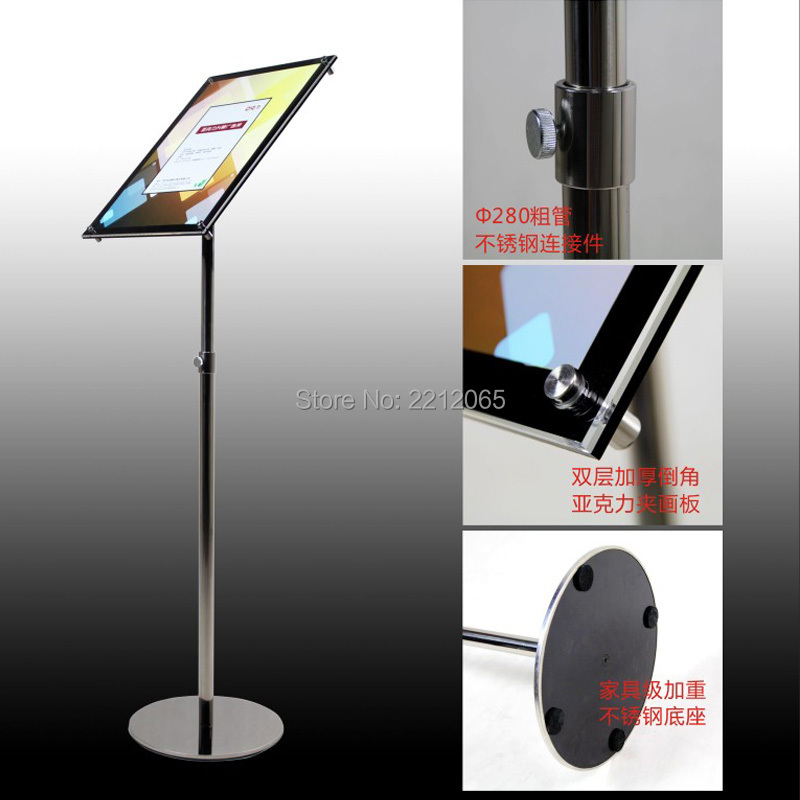 A3 Adjustable Pedestal Sign Holder Floor Stands Rack Black Acrylic Frames Advertising Banner Photo Menu Literature Display Frame Desk Accessories & Organizer