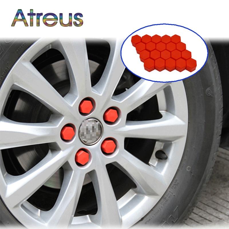 Atreus 20Pcs Silicone Car Wheel Hub Screw Cover Nut Caps For Toyota C-HR 2017 VW Golf MK4 Jetta MK6 Chevrolet Cruze Accessories