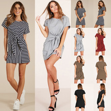 Summer Europe and the United States new women's 5-color loose slim strap dress hot sale europe and the united states 2019 spring and summer woman s gown big pendulum style loose casual women s dress