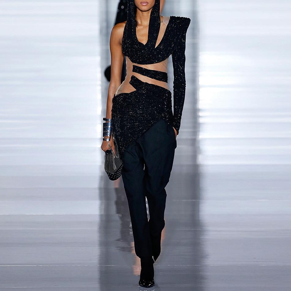 ADYCE 2019 nouveau printemps femmes noir mode piste Top Sexy dentelle évider tops Vestidos célébrité soirée piste hauts fête