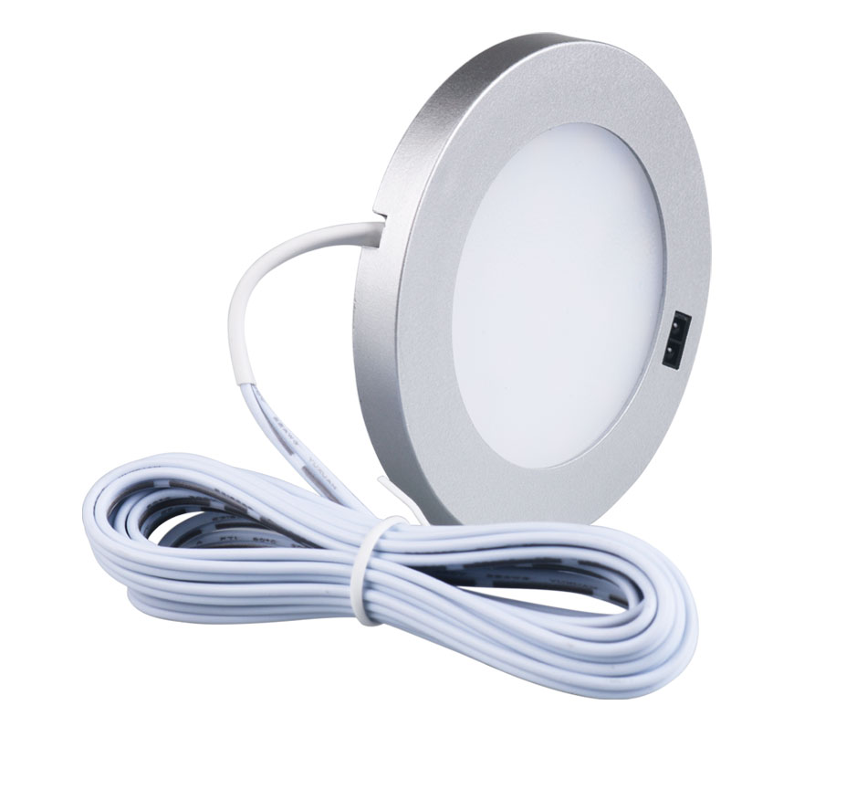 21PCS Under Cabinet Lamps 3W Motion Sensor IR Silver Round LED Puck Counter Led Lights Closet Cupboard Wardrobe Locker Lighting (4)