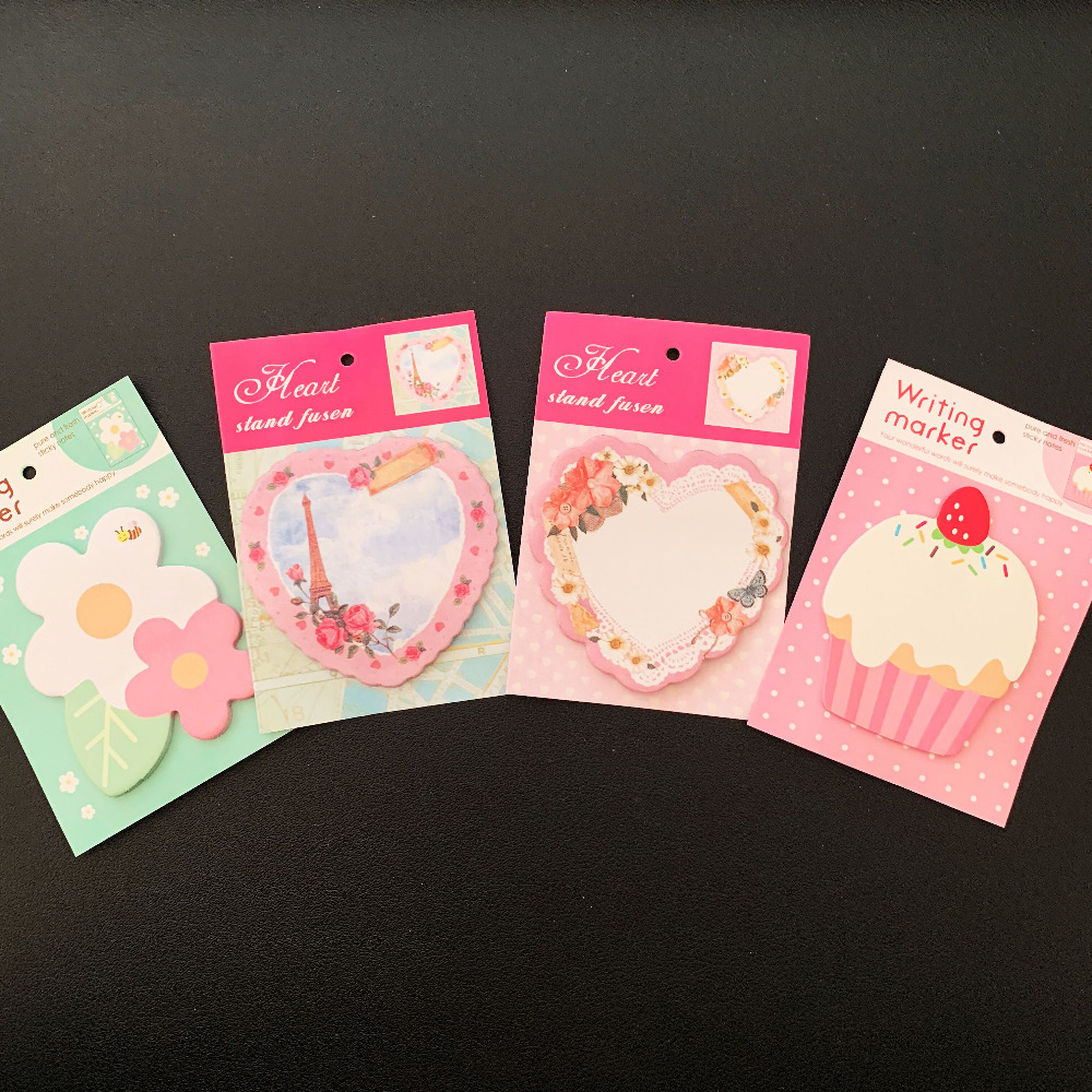 3X Fresh Floral Cake Love Heart  Planner Memo Pads Stationery Sticky Notes Notepad Decorative Sticker School Office Supply