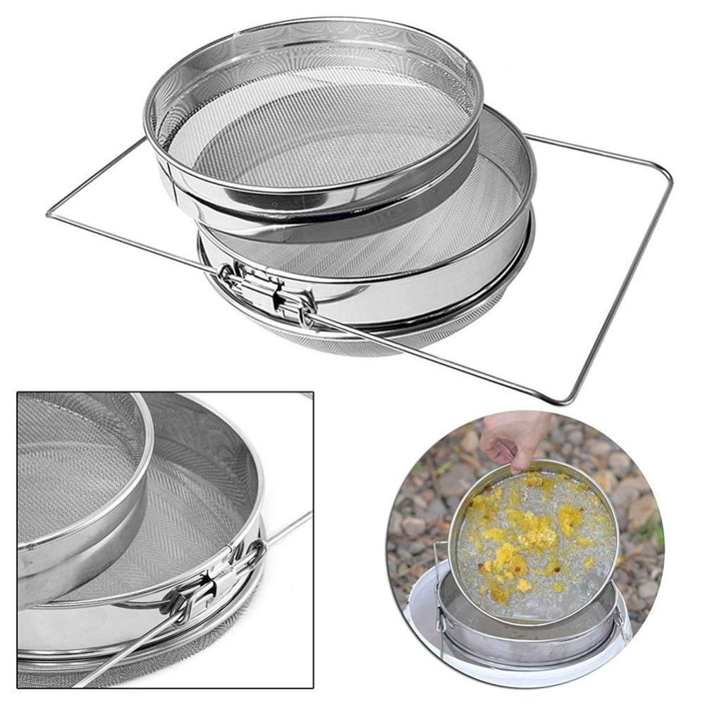 2 Sieve Honey Strainer Stainless Steel Filter Screen Beekeeping Equipment HOT