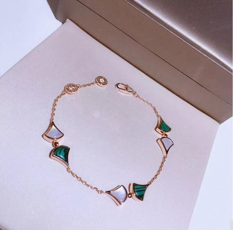 Luxury Shell Skirt Green 925 Sterling Silver Chain Bracelet Flower Star Diva Water Drop Women Wedding Bridal Jewelry
