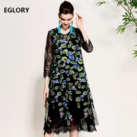 Vintage Retro Women Plus Size Dress Clothing 2018 Spring Summer Robe Femme Exquisite Lace Embroidery Straight Loose Dress XXL