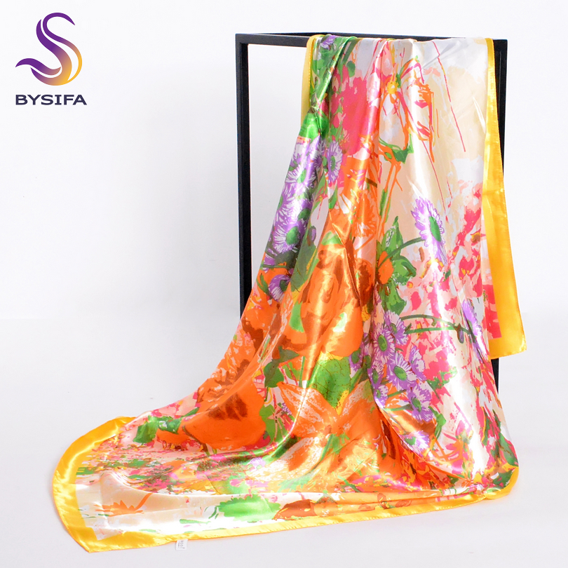 [BYSIFA] Brand Accessories Ladies Silk   Scarf   Cape Spring Autumn Muslim Yellow Head   Scarves     Wraps   90*90cm China Style Neck   Scarf