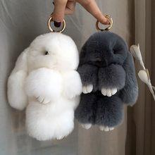 Chaveiro de pompon com pingente de coelho, chaveiro fofo de pelo de coelho real para mulheres, brinquedo com pompom, presente de ano novo