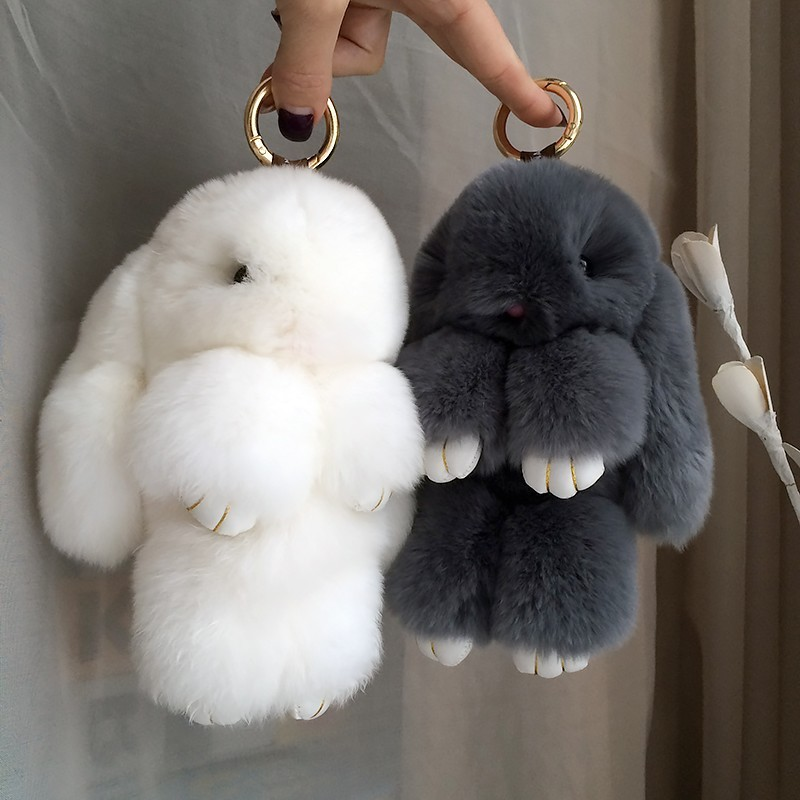 Fluffy Real Rabbit Fur Pompon Bunny KeychainTrinket Women Toy Pompom Rabbit Key Ring Car Key Chain Զարդեր Ամանորյա նվեր
