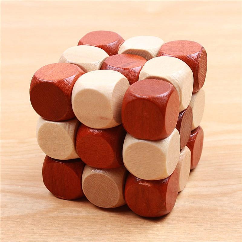 3D ხის თავსატეხი სათამაშოები Magic Cube საგანმანათლებლო Jigsaw Wood Fancy საშობაო საჩუქარი ბავშვებისთვის