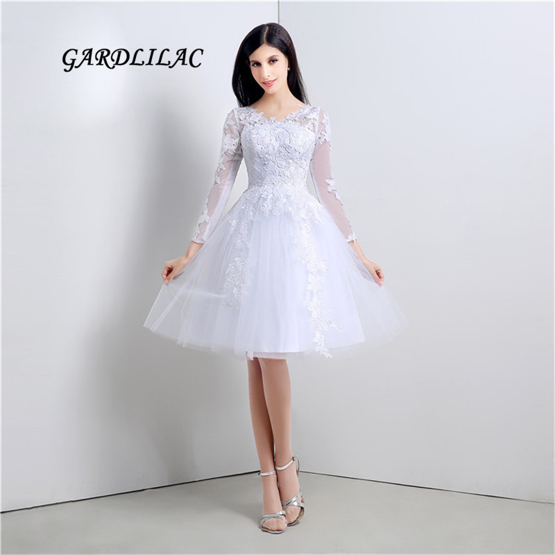 US $73.79 18% OFF|New White Short Plus size Wedding Dresses 2019 Long  Sleeve Lace V NECK Wedding Party Dresses Vestido de noiva-in Wedding  Dresses ...