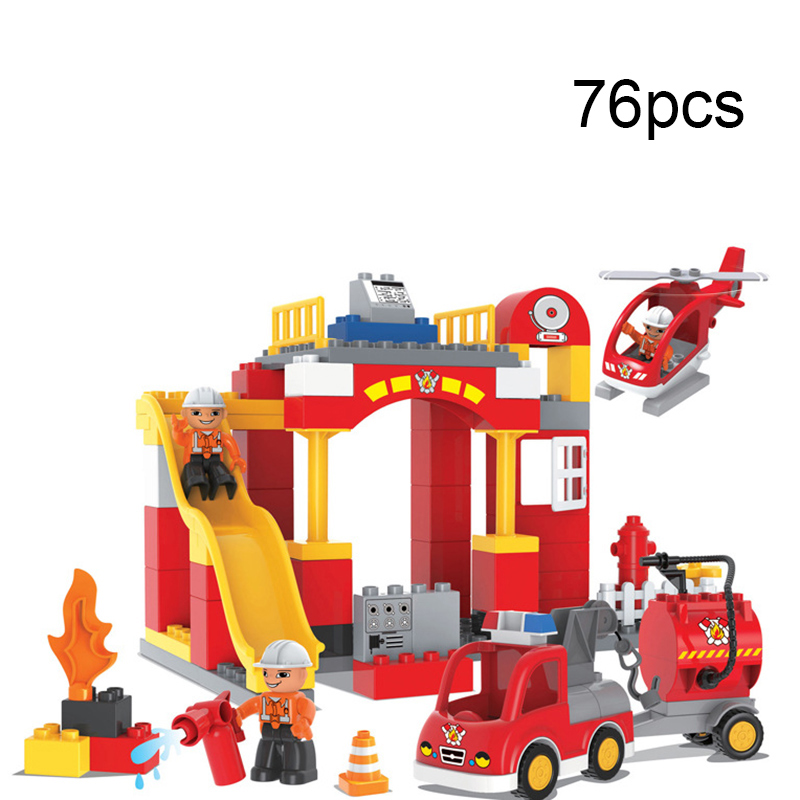 76PCS Big Blocks City Fire department Firemen Building Blocks set Kids DIY Bricks Creative Toys for Children Compatible Duploe lepin city town city square building blocks sets bricks kids model kids toys for children marvel compatible legoe
