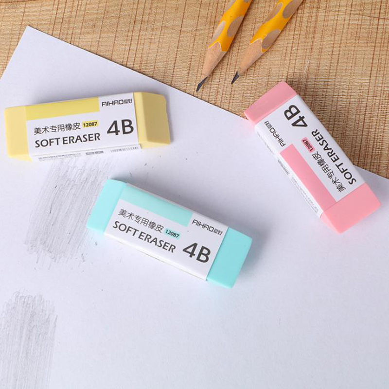6 Pcs/set Kawaii Candy Jelly Color 4B Soft Eraser Correcting Rubber Pencil Erasers Art Painting Sketch Stationery Papelaria Gift