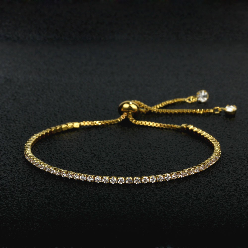 Party Jewelry Adjustable Bracelet For Women 2mm Cubic Zirconia Gold Color Blacelets & Bangles Gift For Her (JewelOra BA101437) 6