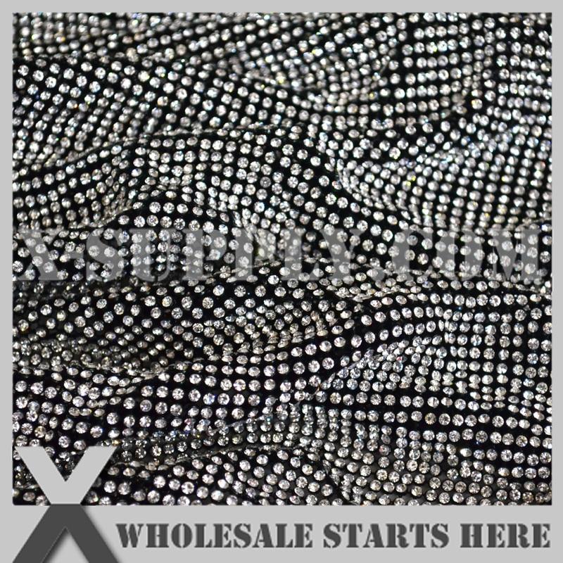 P1 3mm Metal Rhinestone tkaniny arkusz siatki w kolorze czarnym metalowa podstawa bez żelaza na kleju, wykorzystywane do odzieży, kołnierz, buty, stół w Kryształy górskie od Dom i ogród na  Grupa 2
