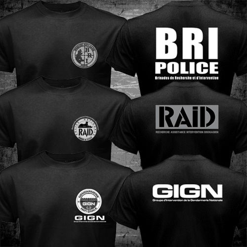 France French Special Elite Police Forces Unit GIGN Raid BRI T shirt men two sides gift  ...