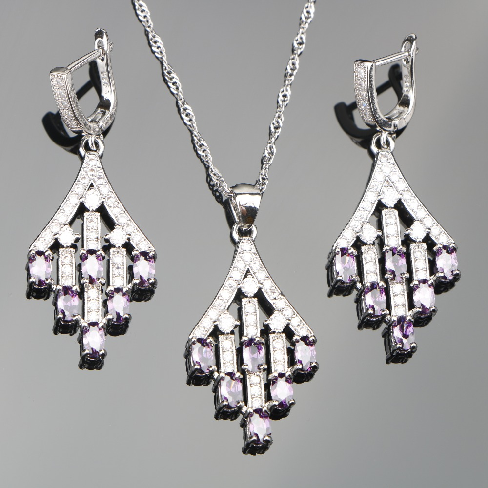 Purple Zircon Silver 925 Costume Jewelry Sets Wedding Women Stones Earrings Pendant Necklace Set of Jewelery Free Gift Box