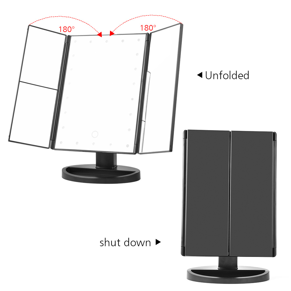 LED Screen Makeup Magnifying Mirrors 4 in 1 Tri-Folded 4