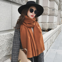 Hot Sale Women Solid Pure Color Tassel Cashmere Scarves Lady Winter Thick Warm Long Scarf High