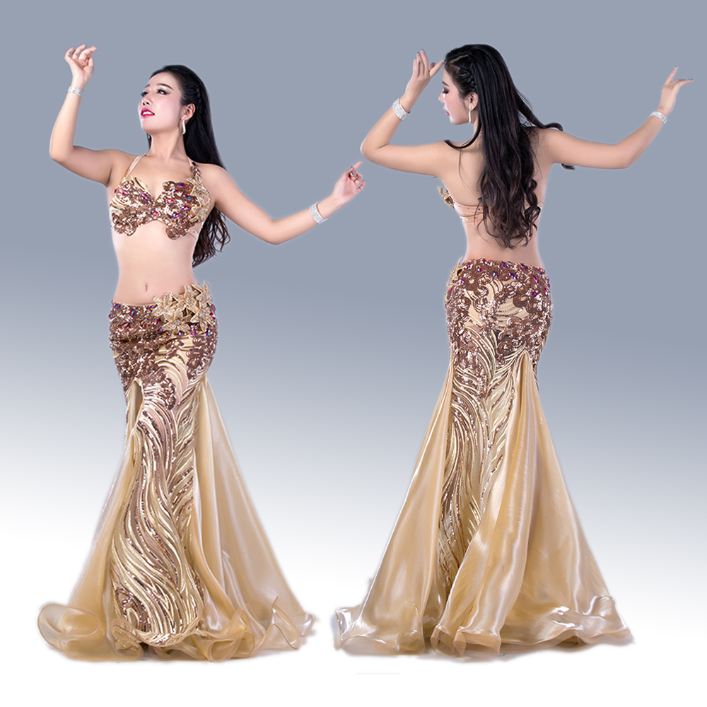 Women luxury Belly Dance Set Hand Made Bra Top Long Skirt 2Pcs For Girls Belly Dance