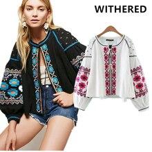 Бесплатная доставка Блузы кимоно Европа и США Женская национальный ветер Тяжелая вышивка хлопок кружевная блузка