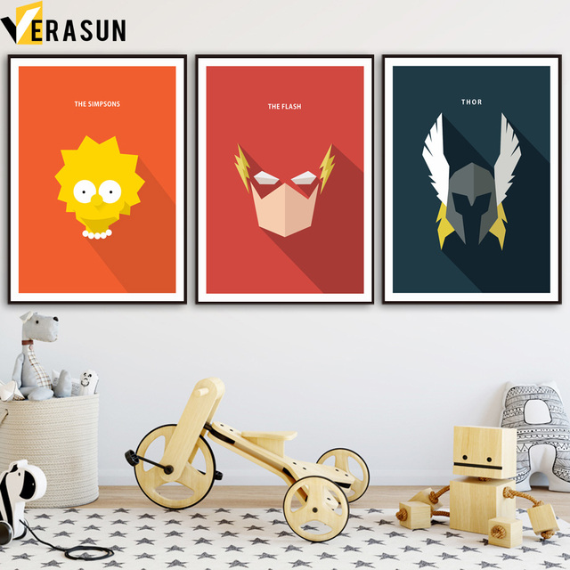 VERASUN Simpsons The Flash Superhero Wall Art Posters And Prints Canvas  Painting Wall Pictures For Living