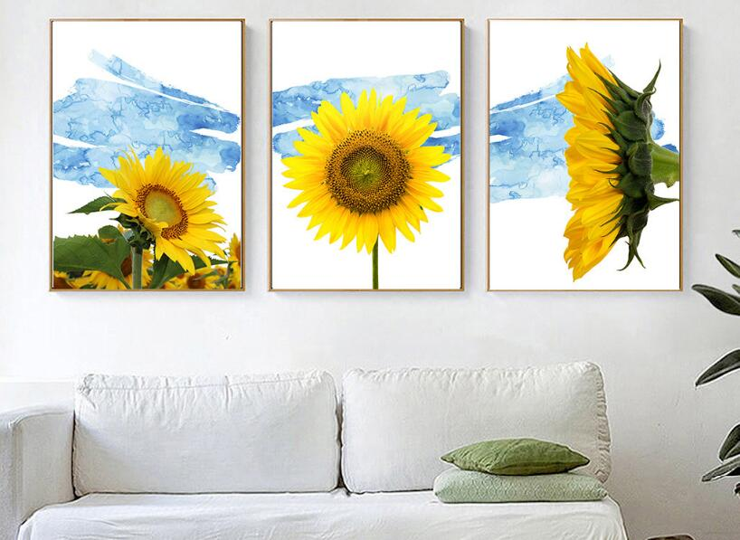 3 panels sunflower Modular wall paintings 2018 christmas decorations for home yellow quadro decorativo nordic poster frameless