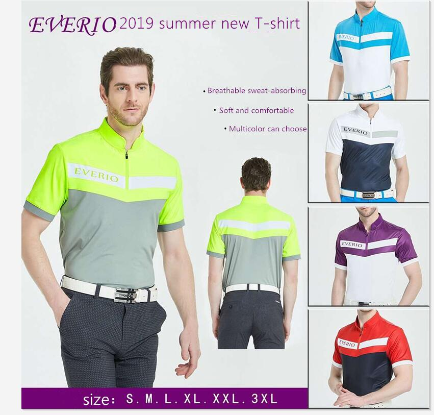 EVERIO 2019 printemps été Golf chemises à manches courtes 1/4 col à glissière hommes T-shirt respirant à séchage rapide Golf sportswear hauts