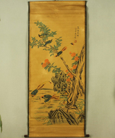 Antique painting traditional Chinese An idyllic scene painting scroll painting,old paper painting
