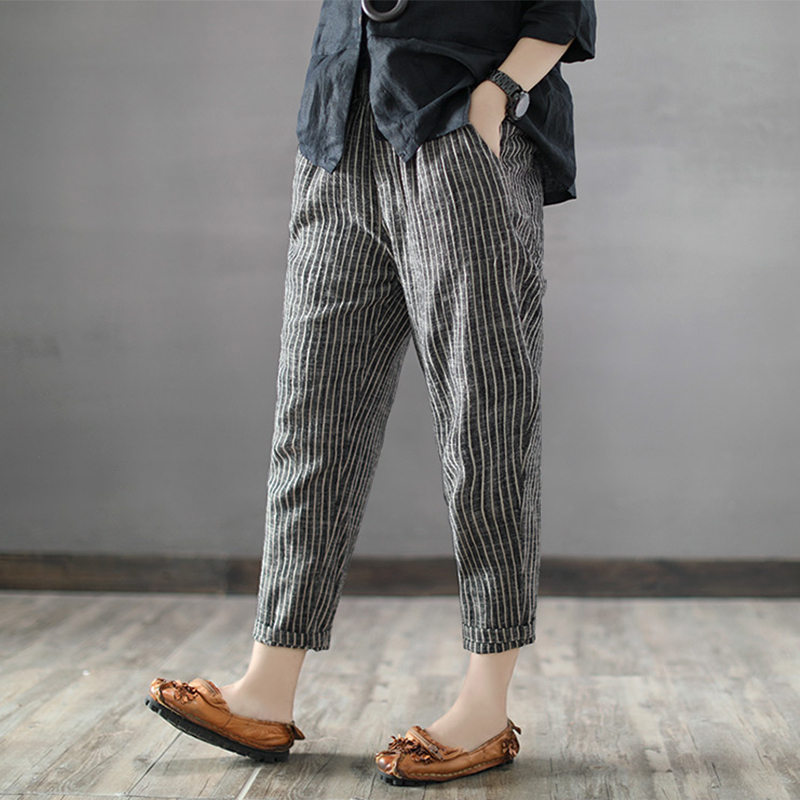 2019 SCHMICKER Women High Elastic Waist Cotton Linen Striped Wide Leg Pantalon Harem Pants Work OL Loose Pencil Turnip Trousers