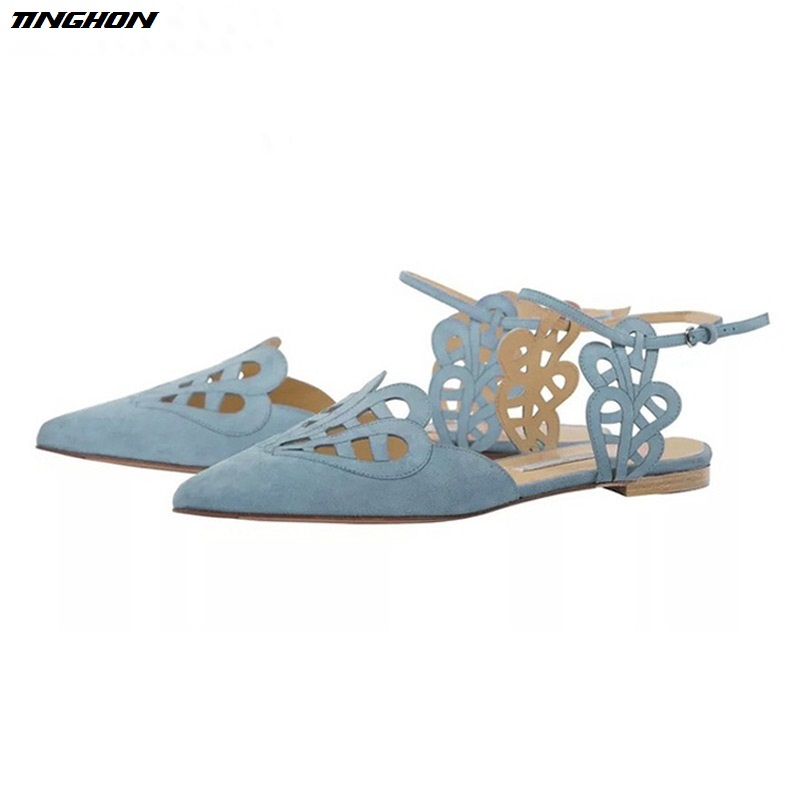 TINGHON Women Flats Shoes Cover Toe Solid Shallow Buckle Strap Sandals Summer Fashion Elegant Women Sandalias 2017 korean women shoes pointed toe shallow mouth flat heel buckle hollow pearls lady fashion flats women summer sandals 35 39