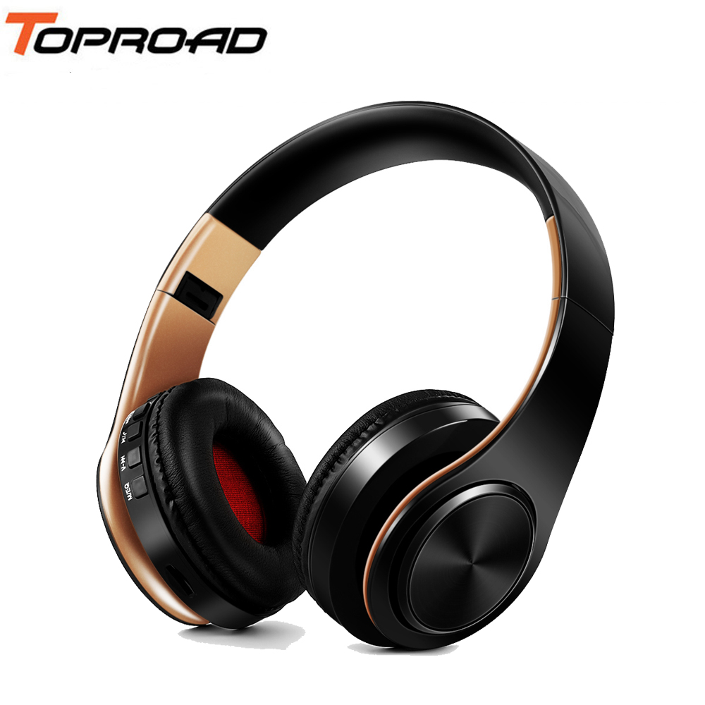 TOPROAD Wireless Headphones Stereo Bluetooth Headset Foldable Headphone Blutooth Earphones With Mic FM TF For Mobile Phone Mp3