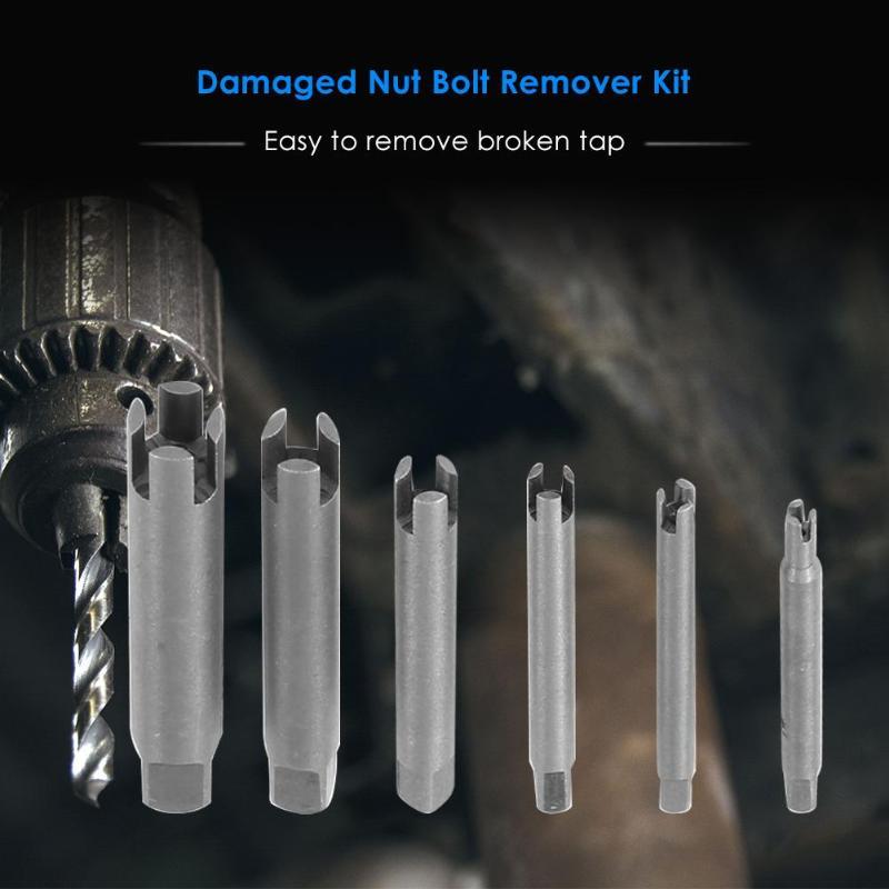 6pcs Damaged Nut Bolt Remover Kit Stud Extractor Bolt Screw Remover Steel Broken Head Taps Remover Screw Tap Extractor Set
