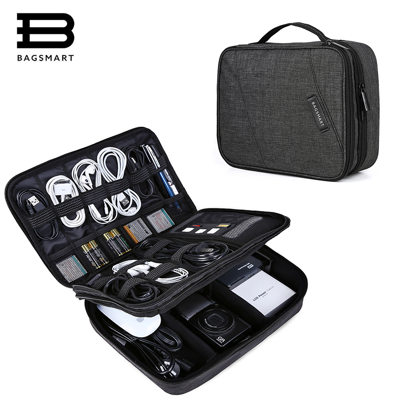BAGSMART Travel Electronics Organizer Bag Portable Digital Accessory Bag for Cable Charger Wire iPad Waterproof Gadget Bag цена 2017