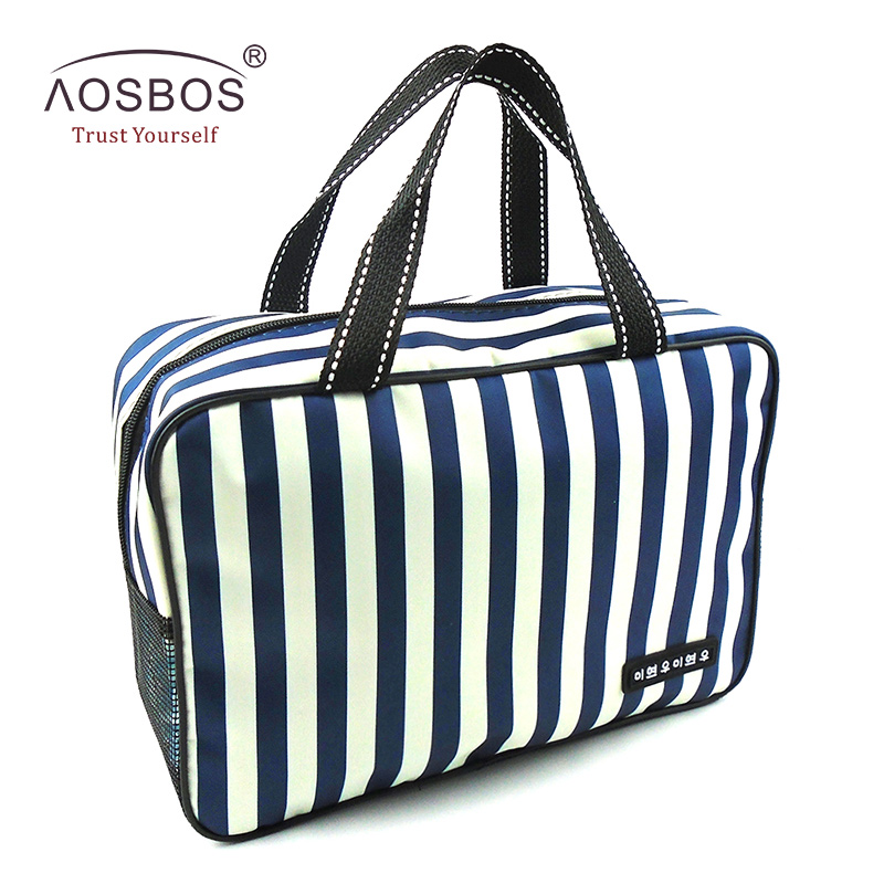 Aosbos New Mesh Striped Cosmetic Bags Large Capacity Waterproof Oxford Toiletry Bag Tote Women Men Travel Organizer Makeup Bag