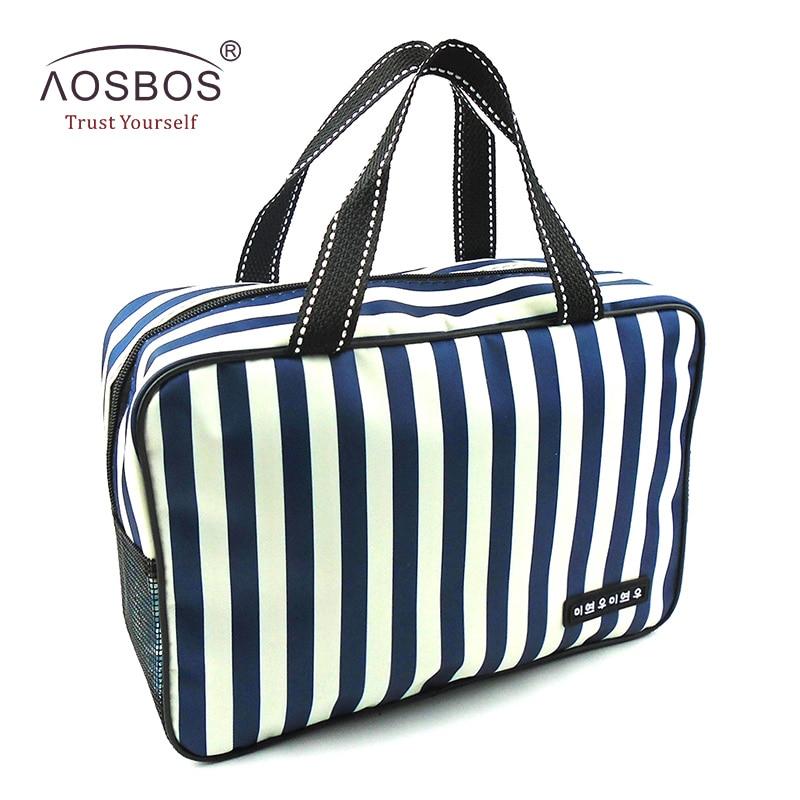 Aosbos New Mesh Striped Cosmetic Bags Large Capacity Waterproof Oxford Toiletry Bag Tote Women Men Travel Organizer Makeup Bag