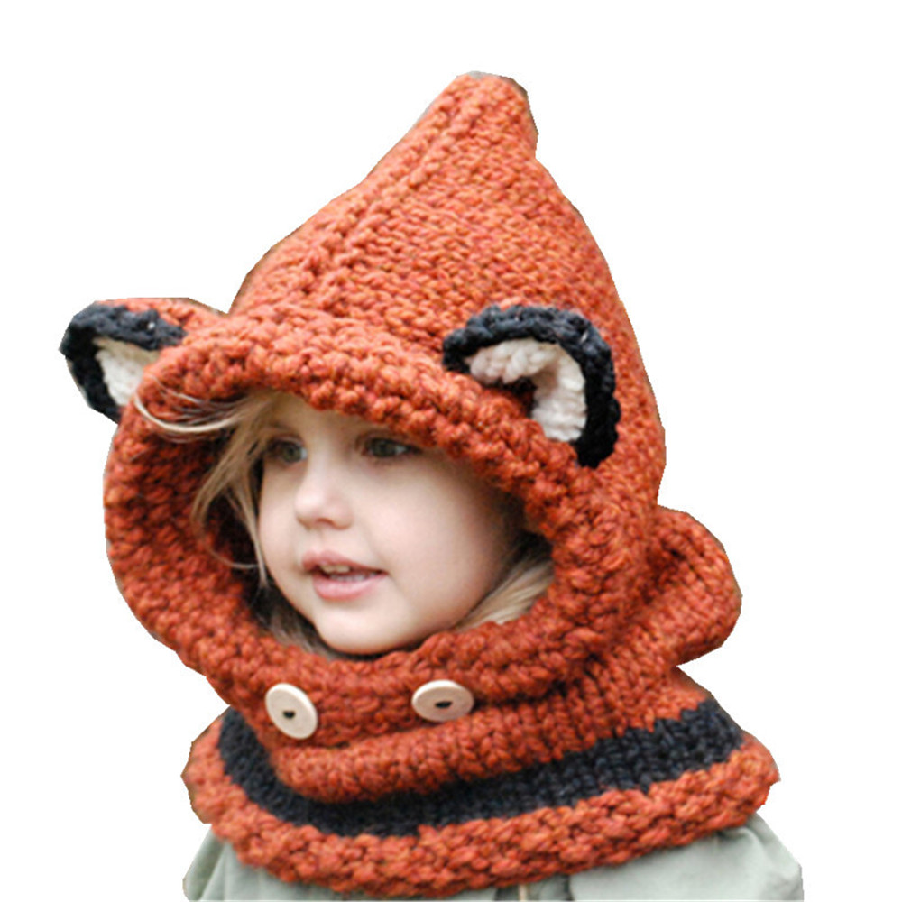 Cosplay Cute Baby Fox Ears Knitted Hat Infant Toddler Winter Warm Hat Beanies Cap with Hooded Scarf Earflap Kids Kawaii Hat