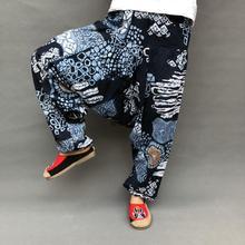Уличная одежда, мужские шаровары, Женские Мешковатые брюки из хлопка и льна, широкие штаны, свободные штаны для танцев, мужская одежда с заниженным шаговым швом