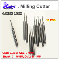 10pcs 0 9x7 0x3 175mm PCB Milling Cutter Carbide End Mill CNC Cutter Mini Drill