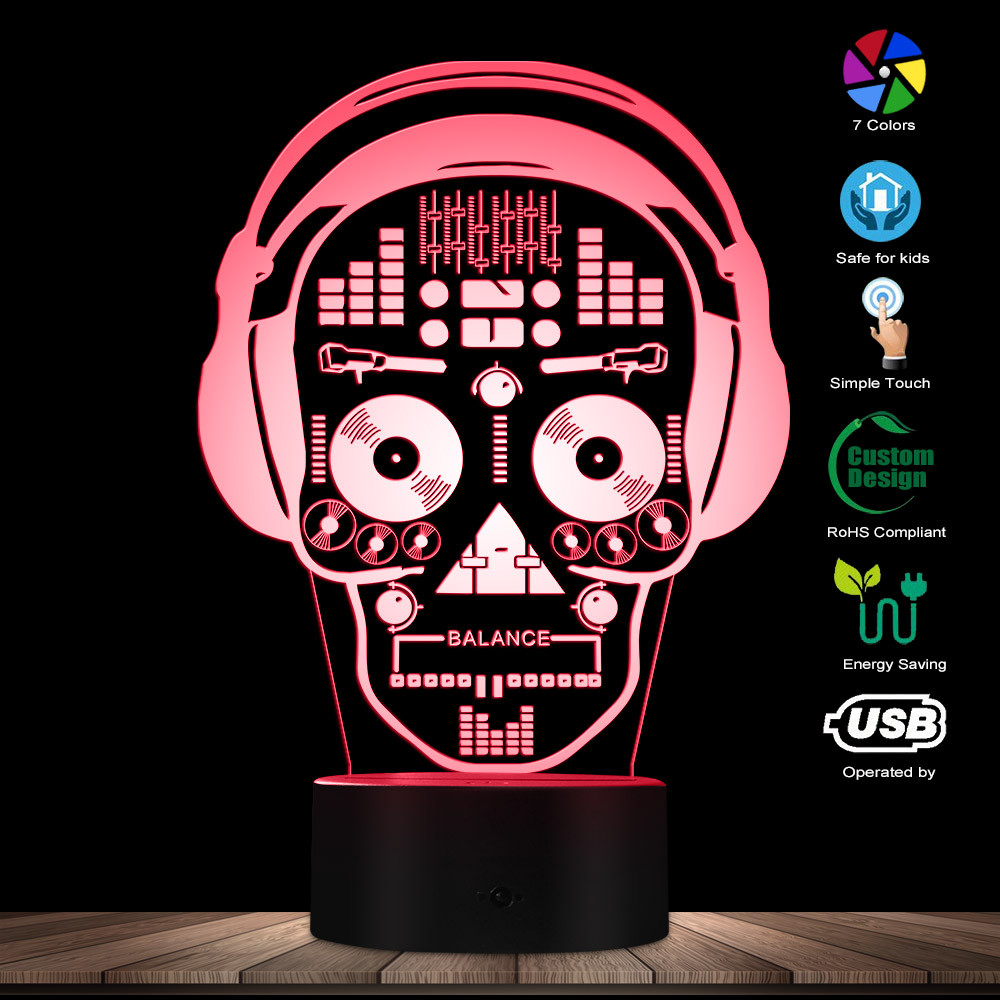 3D LED Illustration Art DJ Skeleton Headphones Sound Mixer Night Lights Music Skull Tatoo Headphones LED Lights Decor Table Lamp